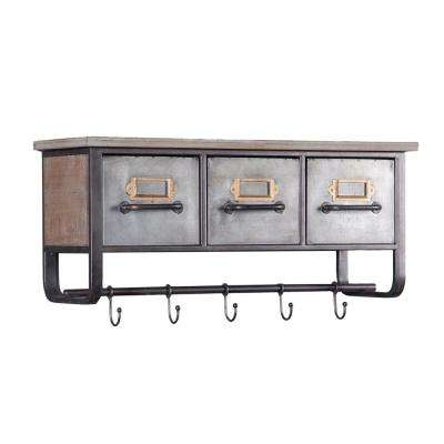 Metal and Wood Decorative Cubby Wall Shelf