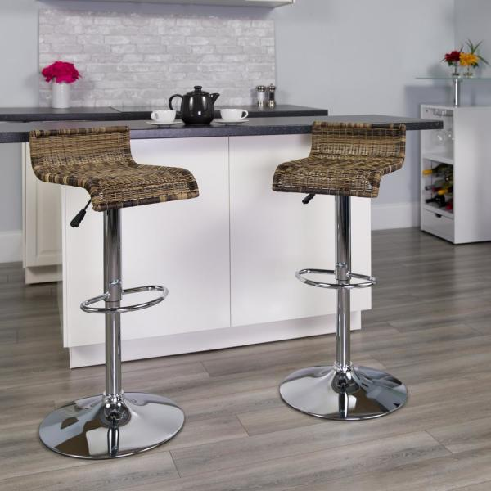 Flash Furniture Adjustable Height Chrome Bar Stool DS712