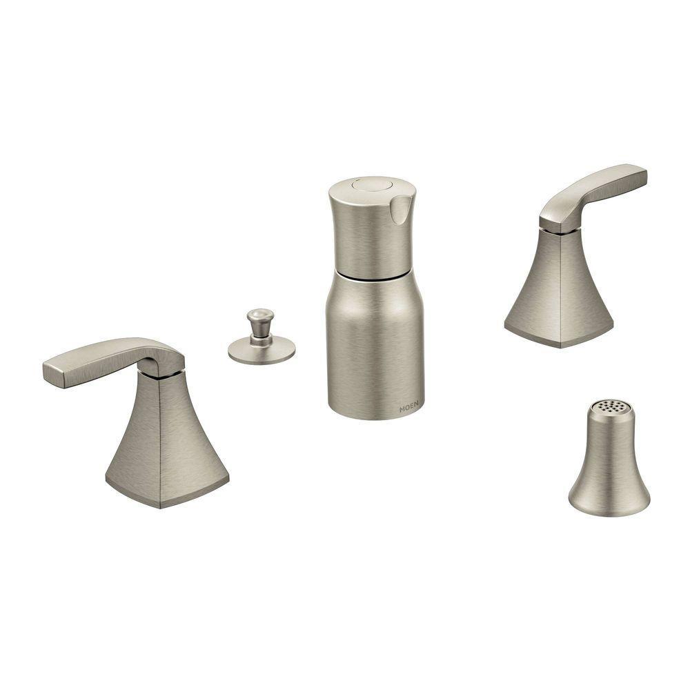 Moen Voss 2 Handle Bidet Faucet Trim Kit In Brushed Nickel Valve