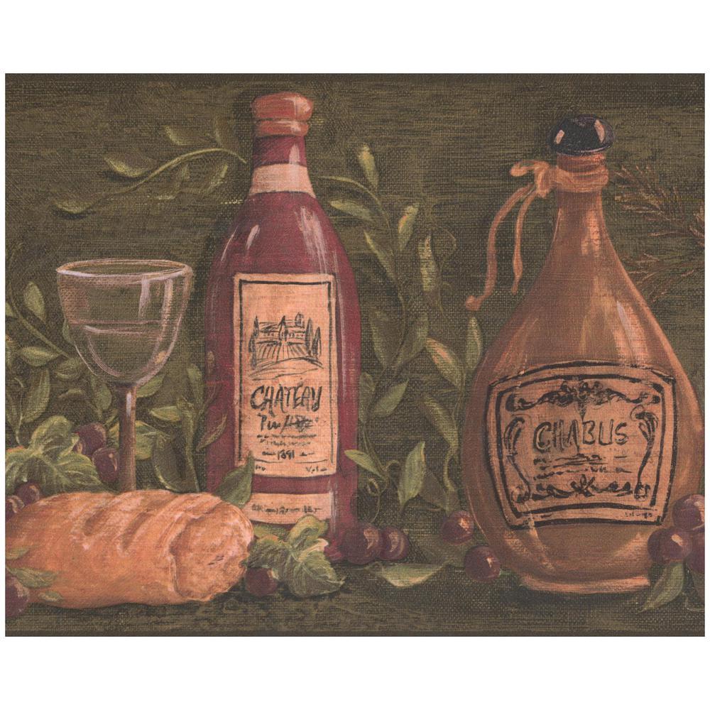 York Wallcoverings French Wine Bottles Cheese Baguette