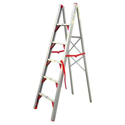 6 ft. OSHA Compliant Single Sided Aluminum Folding Step Straight Ladder