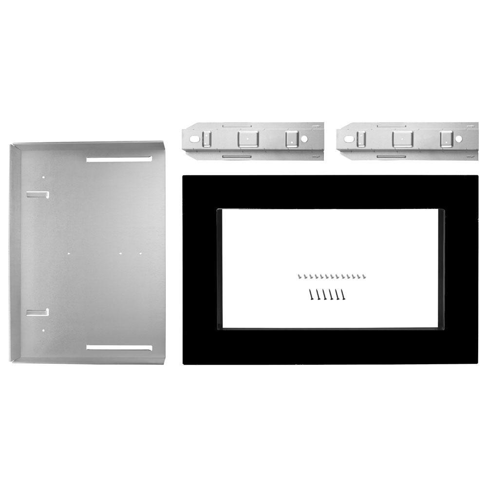 Maytag Co 27 in. Microwave Trim Kit in Black Free-up counter space. This 27 in. Built-in trim kit can be installed over any (electric or gas) built-in wall oven, up to 27 in. Its streamline design gives it a modern look. Color: Black.