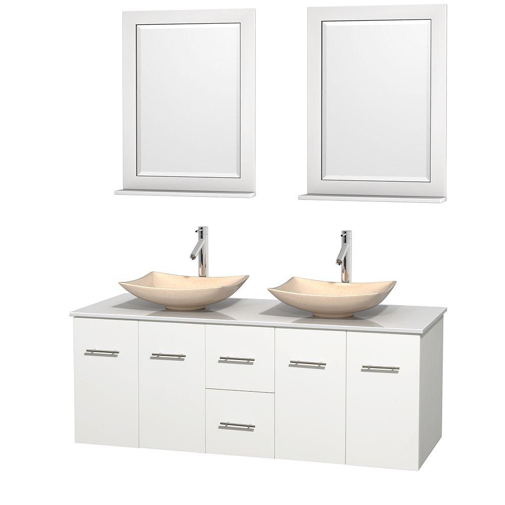Centra 60 in. Double Vanity in White with Solid-Surface Vanity Top