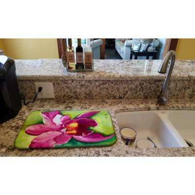 14 in. x 21 in. Multicolor Orchid Dish Drying Mat