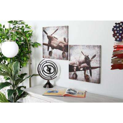 "16 in. x 16 in. ""Vintage Aircraft"" Printed Framed Canvas Wall Art (Set of 2)"
