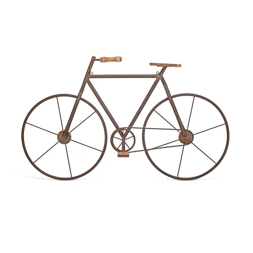 Metal with Wood Brown Finish Bicycle Wall Art