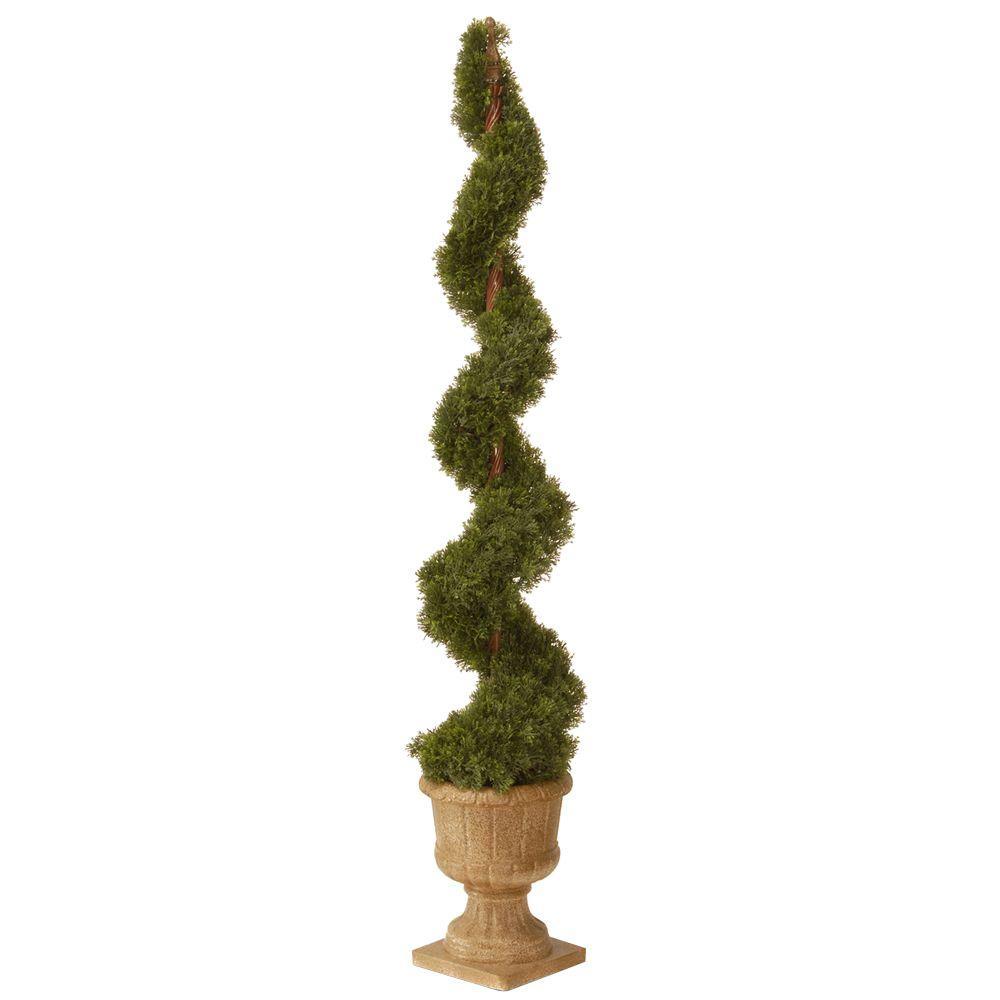 60 in. Upright Juniper Artificial Spiral Tree with Decorative Urn