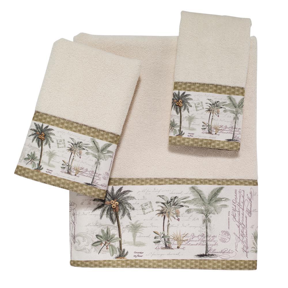 Colony Palm 4-Piece Ivory Floral Bath Towel Set