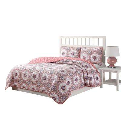 Darma 3-Piece Pink/Blue/White Queen Reversible Quilt Set