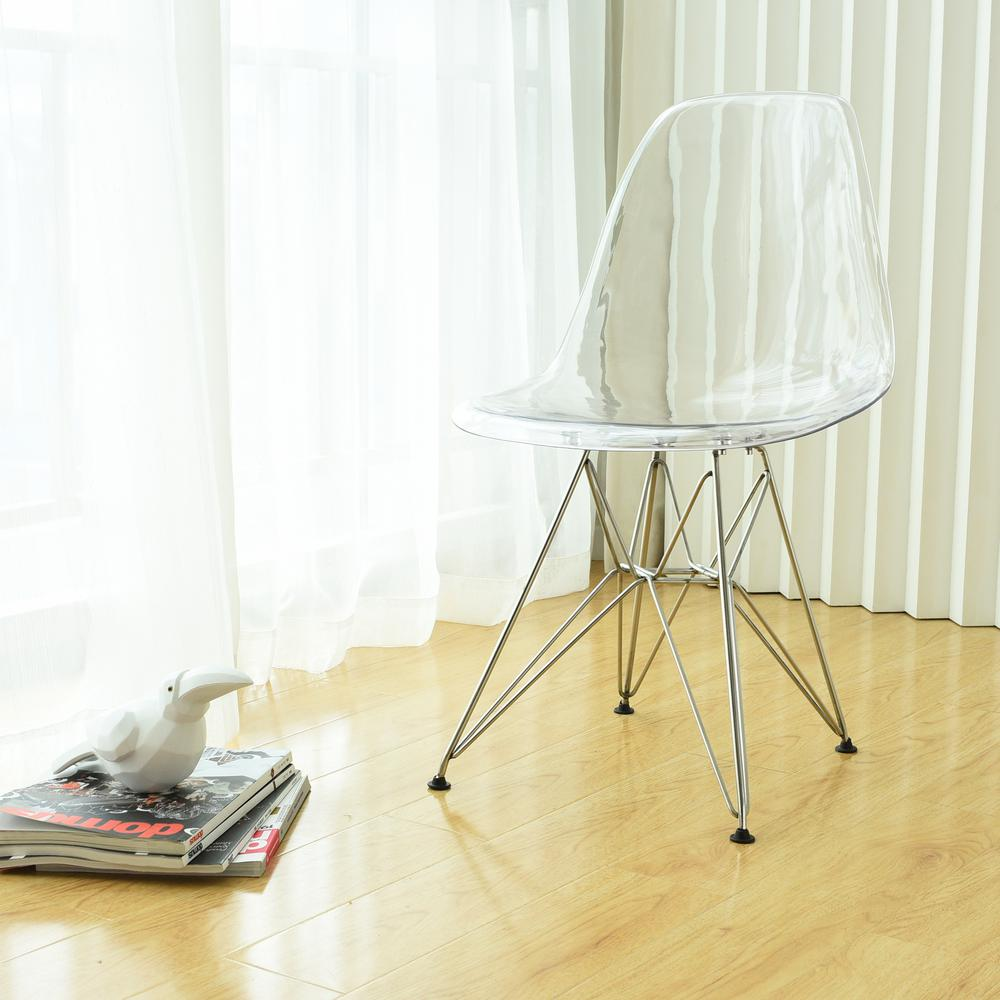 the latest 10c63 516d0 Paris Tower Acrylic Clear Dining Side Chair With Chrome Leg (Set of 2)