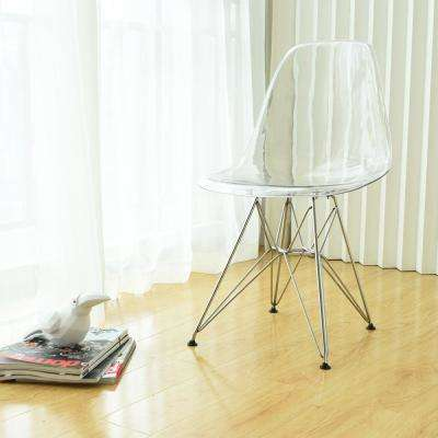 Paris Tower Acrylic Clear Dining Side Chair With Chrome Leg (Set of 2)