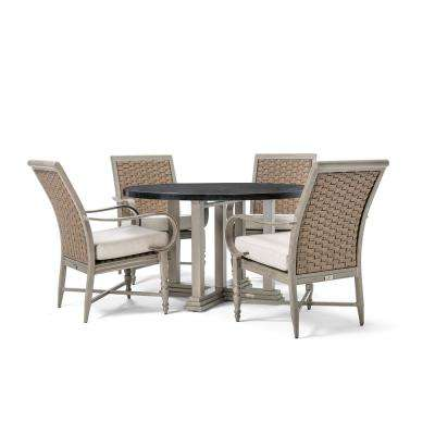 Saylor Wicker 5-Piece Outdoor Dining Set with Outdura Remy Sand Cushion