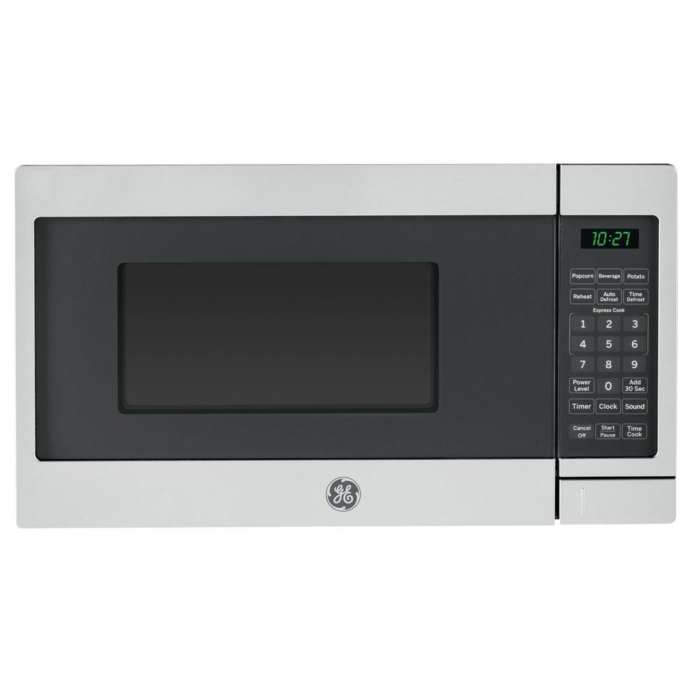 GE 0.7 cu. ft. Small Countertop Microwave in Stainless Steel (Silver) Your GE .7 cu. ft. countertop microwave in Stainless Steel provides convenience using 1 touch cooking controls. Child lock capability helps prevent unintended use. Defrosting times and power levels are programmed automatically or manually for optimal results GE appliances provide up-to-date technology and exceptional quality to simplify the way you live. With a timeless appearance, this family of appliances is ideal for your family. And, coming from one of the most trusted names in America, you know that this entire selection of appliances is as advanced as it is practical.