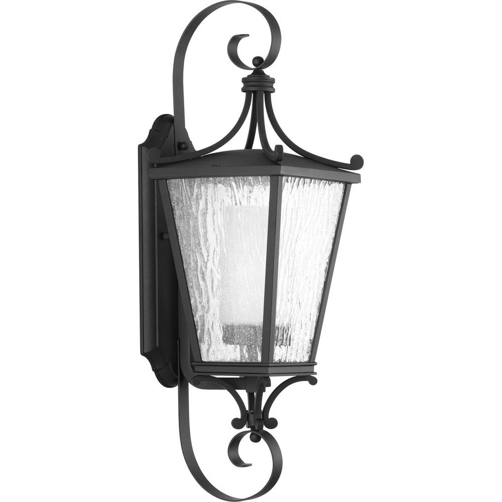 Cadence Collection 1-Light Outdoor 8 Inch Black Wall Lantern