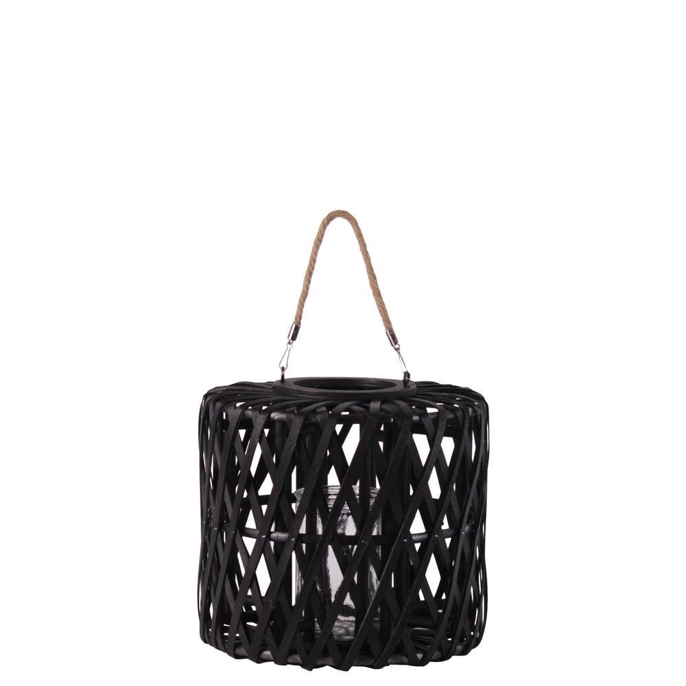 Black Candle Wooden Decorative Lantern