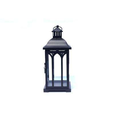 14 in. Metal Lantern in Black