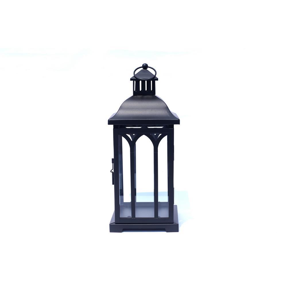 14 In. Metal Lantern In Black