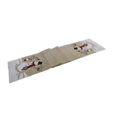 0.1 in. H x 13.5 in. W x 72 in. D Snowman Lantern Light Up Chirstmas Table Runner