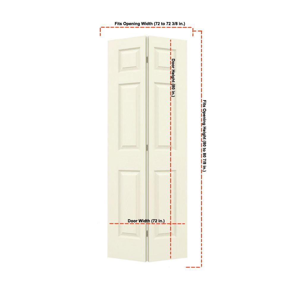 36 in. x 80 in. Colonist Vanilla Painted Textured Molded Composite MDF Closet Bi-fold Double Door