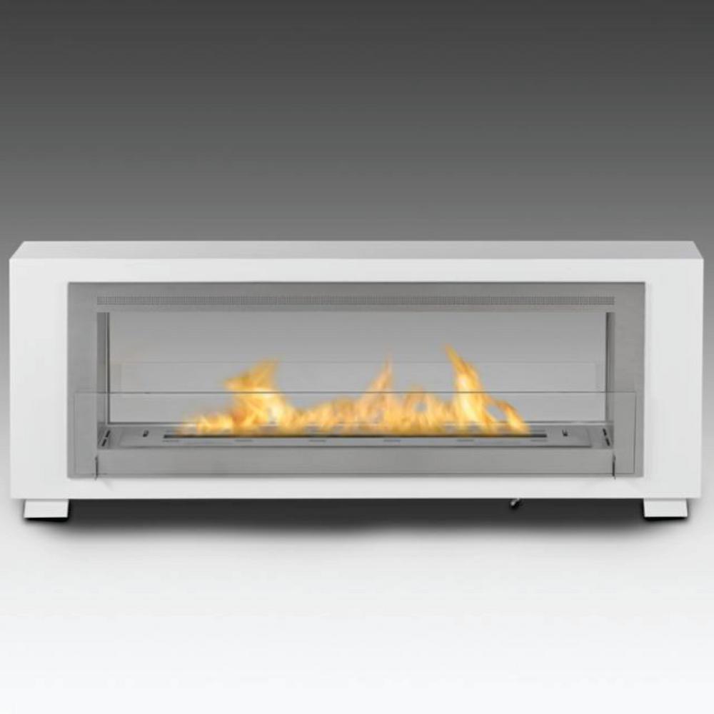 Santa Cruz 63 in. Ethanol Free Standing Fireplace in Gloss White