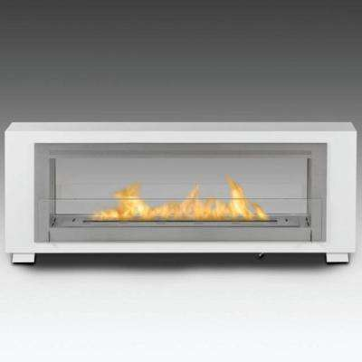 Santa Cruz 63 in. Ethanol Free Standing Fireplace in Gloss White with Stainless Interior