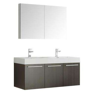 Vista 48 in. Vanity in Gray Oak with Acrylic Vanity Top in White with White Basins and Mirrored Medicine Cabinet