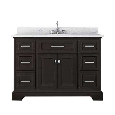 Laxton 49 in. W x 34 in. H Bath Vanity in Espresso with Marble Vanity Top in White with White Basin