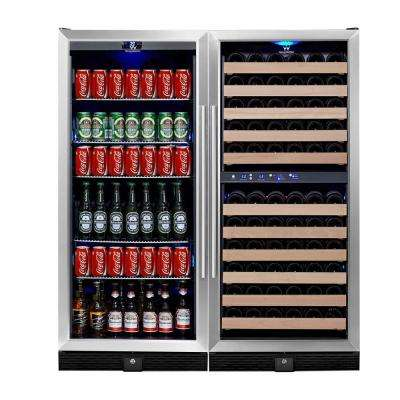 3 Zone 47.08 in. 106 Bottle 300 (12 oz.) Combo Beverage Can and Wine Cooler