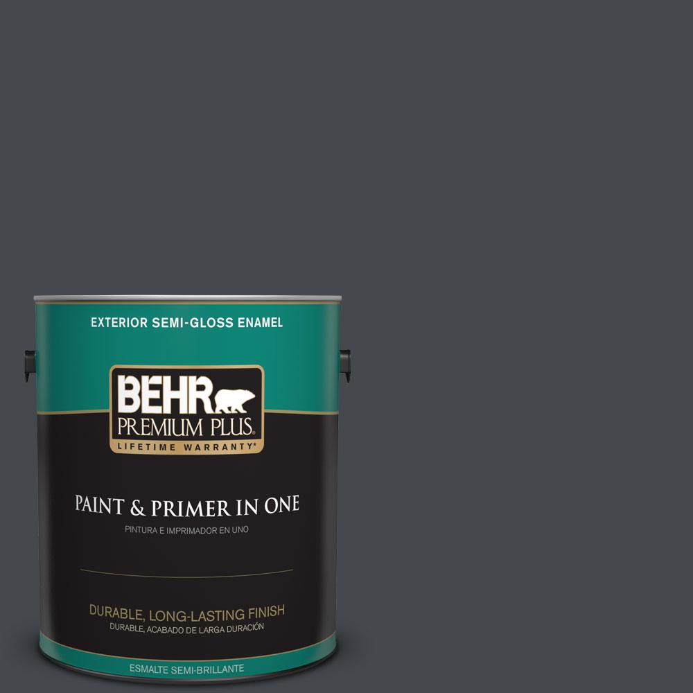 1-gal. #N490-7 Ink Black Semi-Gloss Enamel Exterior Paint