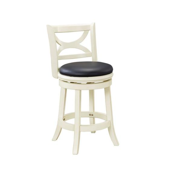 Florence 24 in. Distressed White Swivel Cushioned Bar Stool
