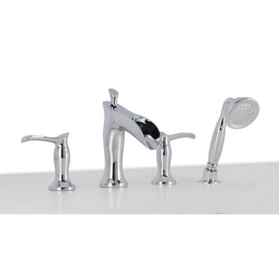 Eleganzia 2-Handle Deck-Mount Roman Tub Faucet with Handshower in Chrome Finish