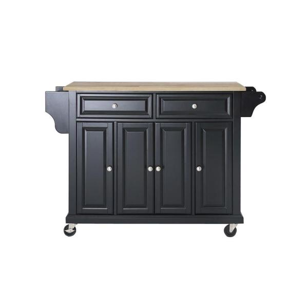 Full Size Black Kitchen Cart with Natural Wood Top