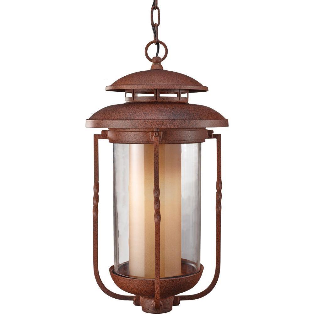 Feiss Menlo Park 1-Light Cinnamon Outdoor Hanging Lantern Pendant