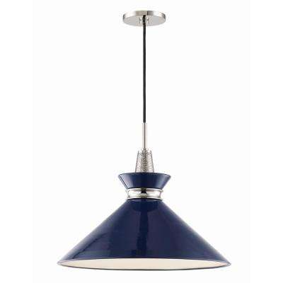Kiki 1-Light 18 in. W Polished Nickel Pendant with Pink Shade