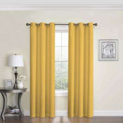 Blackout Microfiber 95 In L Ochre Grommet Curtain