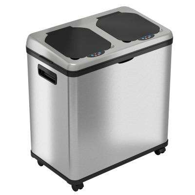 61 l/16 Gal. Stainless Steel Automatic Sensor Trash Can and Recycle