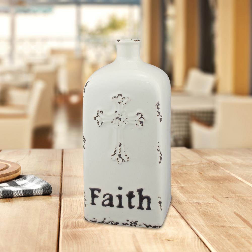 10 in. Ceramic Faith Vase in Worn White