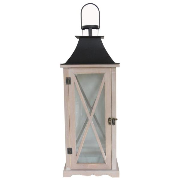 22 in. Wood and Metal Lantern