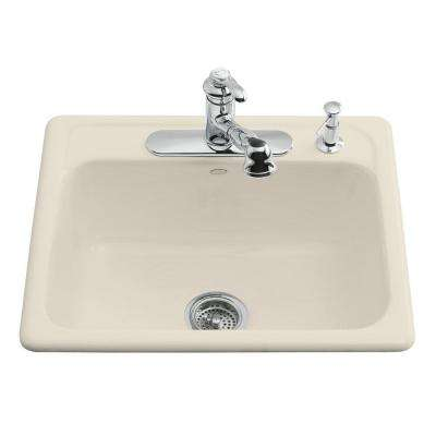 Mayfield Drop-In Cast-Iron 25 in. 4-Hole Single Bowl Kitchen Sink in Almond