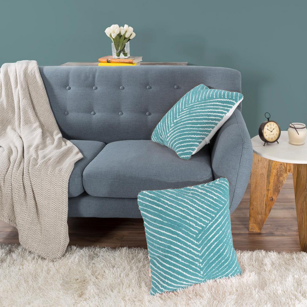 Modern Diagonal Blue Geometric Polyester 18 in. x 18 in. Throw Pillow