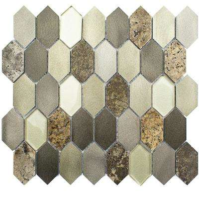 Fortis Halo Marble Metal Glass Wall Mosaic Tile - 3 in. x 6 in. x 8 mm Tile Sample