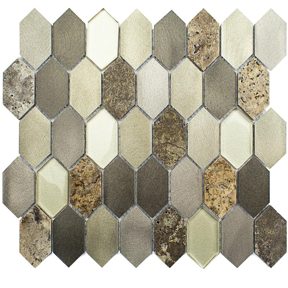 Fortis Halo Marble Metal Glass Wall Mosaic Tile - 3 in.