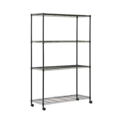 72 in. H x 48 in. W x 18 in. D 4-Shelf Mobile Wire Shelving Unit in Black