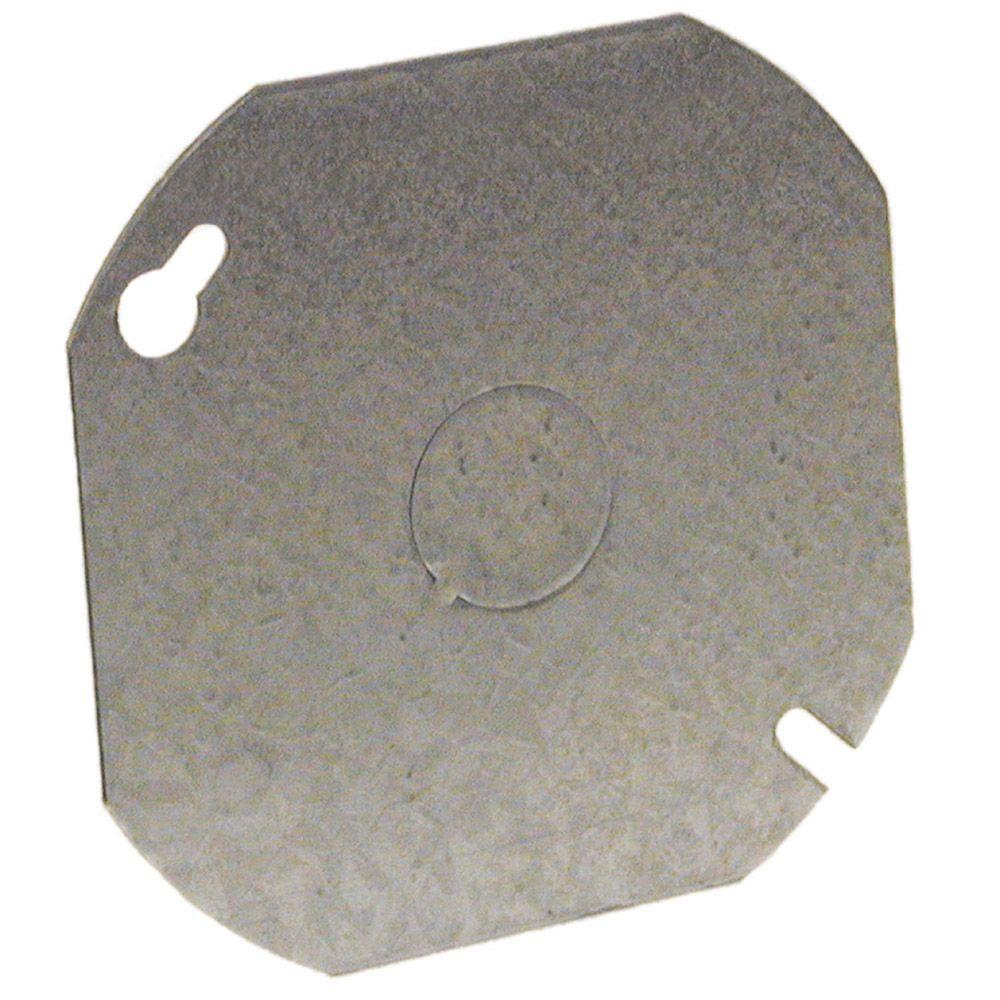 4 in. Octagon Cover, Flat, 1/2 in. Center KO (25-Pack)