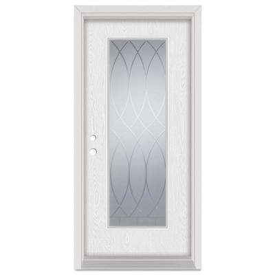 36 in. x 80 in. V-Groove RightHand Full Lite Decorative Finished Fiberglass Oak Woodgrain Prehung FrontDoor Brickmould