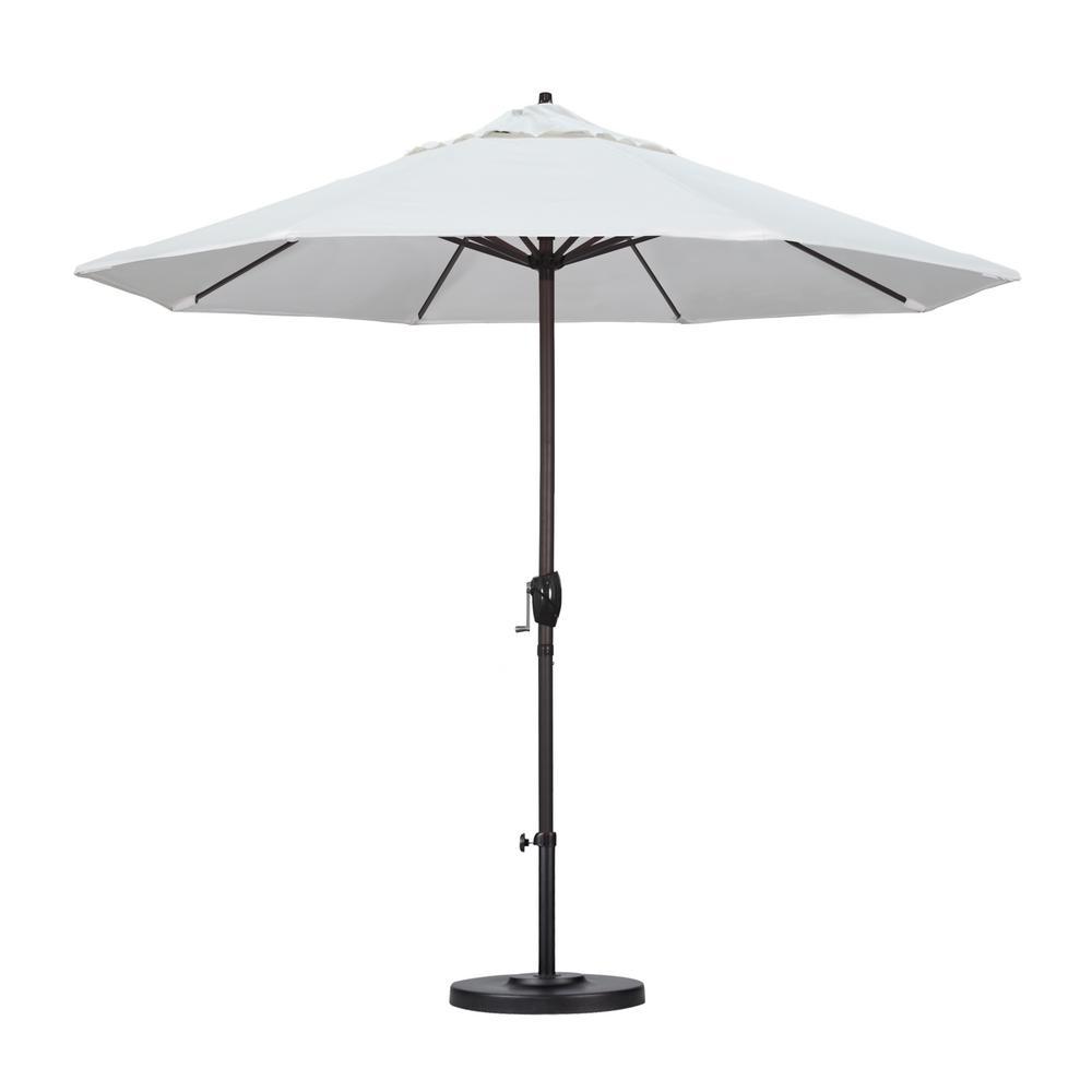 9 ft. Bronze Aluminum Pole Market Aluminum Ribs Auto Tilt Crank Lift Patio Umbrella in Natural Sunbrella
