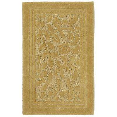 Wellington 24 in. x 40 in. Nylon Bath Rug in Gold