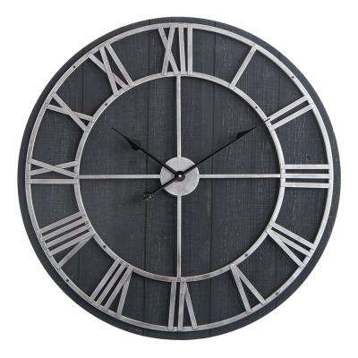 "Utopia Alley Oversized Roman Round Wall Clock -28"" Diameter, Dark Wood finish"