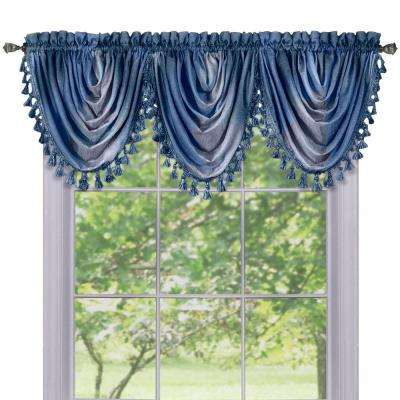 Semi-Opaque Ombre Waterfall 42 in. L Polyester Valance in Blue