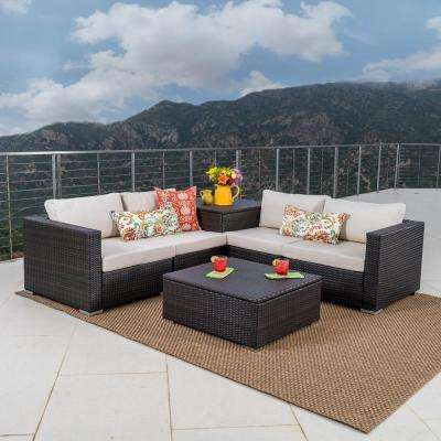 Outdoor Patio Furniture With Storage.Brown 6 Piece Wicker Patio Sectional Seating Set With Beige Cushions